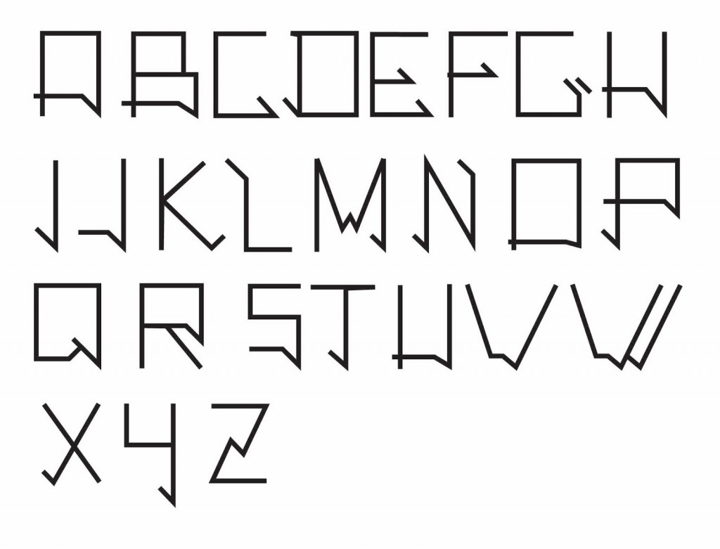 """Inspirée par la """"Destijl"""" et """"l'Helvetica thin""""."""